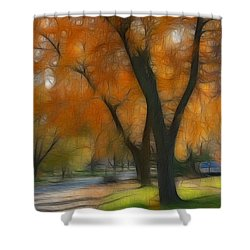 Memory Of An Autumn Day Shower Curtain by Lyle Hatch