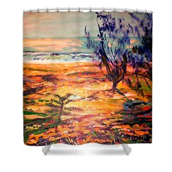 Shower Curtain featuring the painting Memory Pandanus by Winsome Gunning