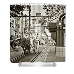 Memphis Carriage Shower Curtain by Liz Leyden