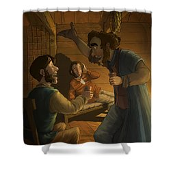 Men In A Hut Shower Curtain by Andy Catling