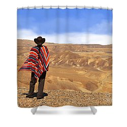 Man In A Poncho In The Desert Shower Curtain