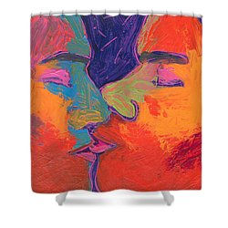 Men Kissing Colorful 2 Shower Curtain by Shungaboy X