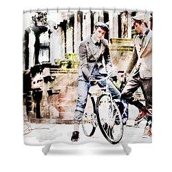 Men On Bikes Shower Curtain by Robert Smith