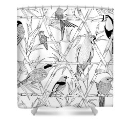 Menagerie Black And White Shower Curtain by Jacqueline Colley