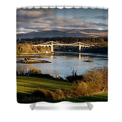 Menai Strait From Anglesey Shower Curtain