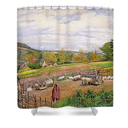 Mending The Sheep Pen Shower Curtain by William Henry Millais