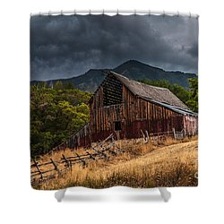 Mendon Utah Barn In Storm Shower Curtain by Gary Whitton