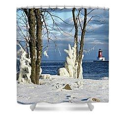 Menominee Lighthouse Ice Sculptures Shower Curtain
