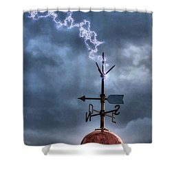 Menorca Copper Lighthouse Dome With Lightning Rod Under A Bluish And Stormy Sky And Lightning Effect Shower Curtain by Pedro Cardona