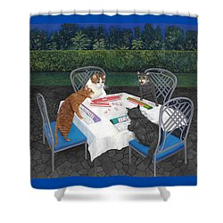 Meowjongg - Cats Playing Mahjongg Shower Curtain