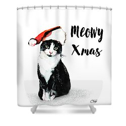 Shower Curtain featuring the painting Meowy Xmas by Colleen Taylor