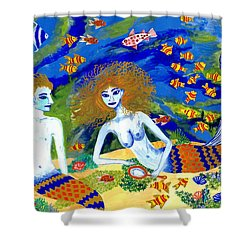 Mer Quarrel Shower Curtain by Sushila Burgess