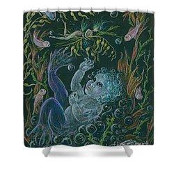 Merbaby Blue Shower Curtain by Dawn Fairies