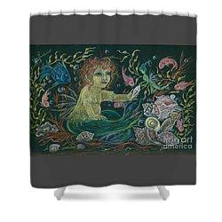 Merbaby Golden Green Shower Curtain by Dawn Fairies
