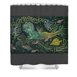 Merbaby Green Shower Curtain by Dawn Fairies