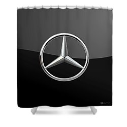Mercedes-benz - 3d Badge On Black Shower Curtain by Serge Averbukh