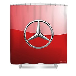 Mercedes-benz - 3d Badge On Red Shower Curtain by Serge Averbukh