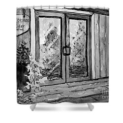 Shower Curtain featuring the painting Mercier Orchard's Cider In Bw by Gretchen Allen
