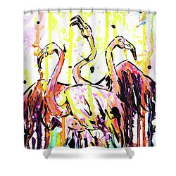 Shower Curtain featuring the painting Merging. Flamingos by Zaira Dzhaubaeva