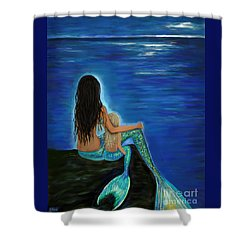 Shower Curtain featuring the painting Mermaid And Her Daughter by Leslie Allen