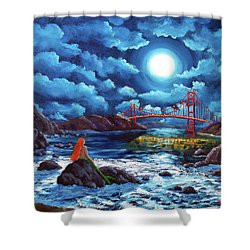 Mermaid At The Golden Gate Bridge  Shower Curtain by Laura Iverson