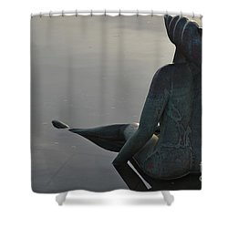 Mermaid Bronze Statue In The Faro Marina Shower Curtain