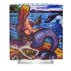 Shower Curtain featuring the painting Mermaid Cat And Mussels by Dianne  Connolly