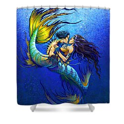Shower Curtain featuring the painting Mermaid Kiss by Stanley Morrison