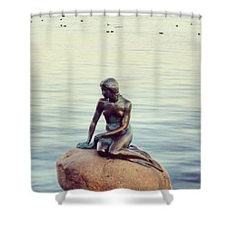 Peaceful Mermaid  Shower Curtain by Molly Malone