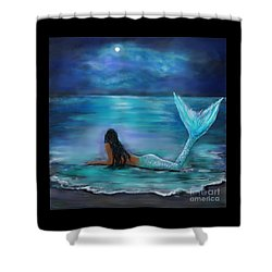 Mermaid Moon And Stars Shower Curtain by Leslie Allen