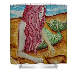 Mermaid On Sand With Heart Shower Curtain by Beryllium Canvas