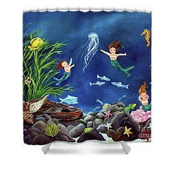 Shower Curtain featuring the painting Mermaid Recess by Carol Sweetwood
