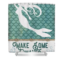 Mermaid Waves 1 Shower Curtain