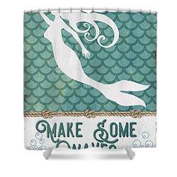Mermaid Waves 1 Shower Curtain