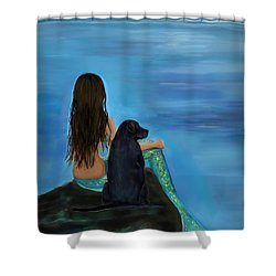 Shower Curtain featuring the painting Mermaids Loyal Bud by Leslie Allen