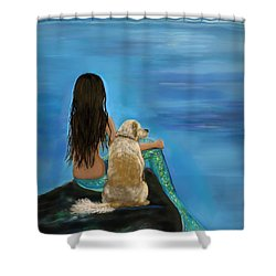 Shower Curtain featuring the painting Mermaids Loyal Buddy by Leslie Allen