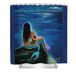 Shower Curtain featuring the painting Mermaids Sweet Little Girls by Leslie Allen