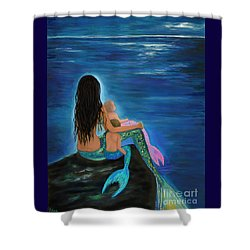 Shower Curtain featuring the painting Mermaids Sweet Little Ones by Leslie Allen