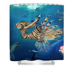 Mermalien Odyssey Shower Curtain by Patrick Anthony Pierson