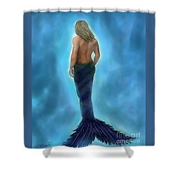 Shower Curtain featuring the painting Merman Majestic by Leslie Allen