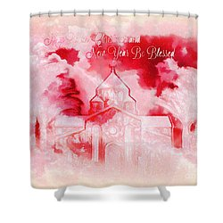 Shower Curtain featuring the digital art Merry Christmas And A Blessed New by Sherri Of Palm Springs