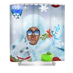 Merry Christmas And Kisses Shower Curtain