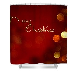 Merry Christmas Card - Bokeh Shower Curtain by Aimelle