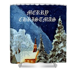 Merry Christmas Card Yosemite Valley Chapel Shower Curtain by Bill Holkham