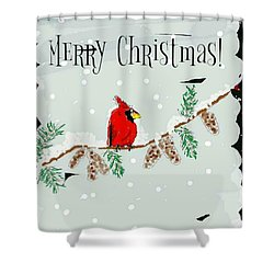 Merry Christmas Cardinal Shower Curtain