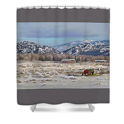 Merry Christmas From Wyoming Shower Curtain by Dawn Senior-Trask