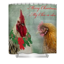 Merry Christmas My Chic-a-dee Shower Curtain by Donna Brown