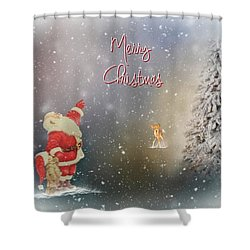 Shower Curtain featuring the photograph Merry Christmas Santa by Mary Timman