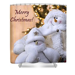 Shower Curtain featuring the photograph Merry Christmas Snowmen by Betty Denise