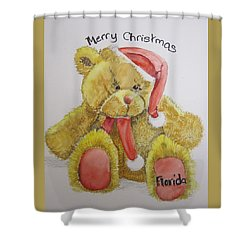 Merry Christmas Teddy  Shower Curtain